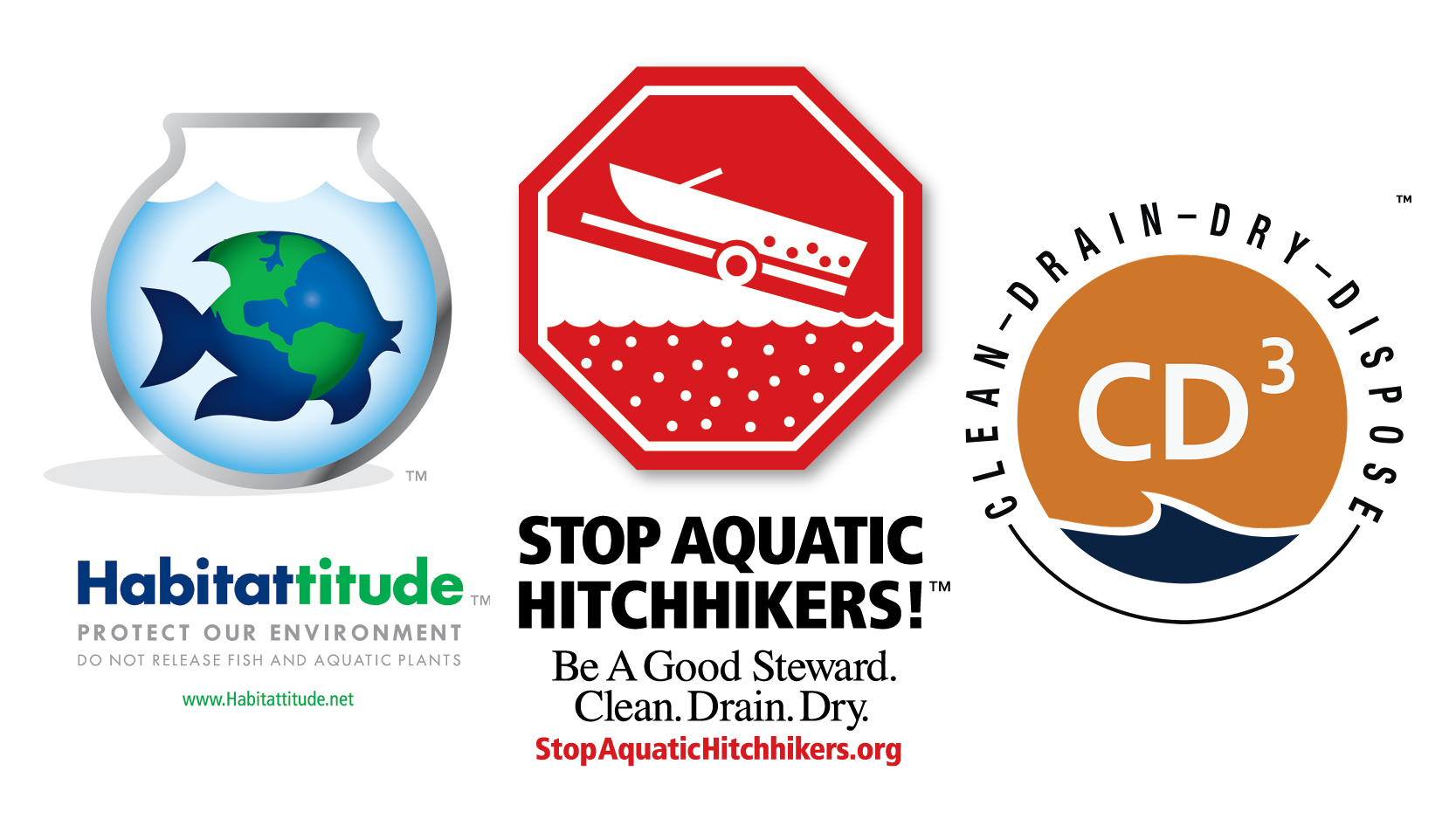Logos of Habitattitude, Stop Aquatic Hitchhikers, and CD3