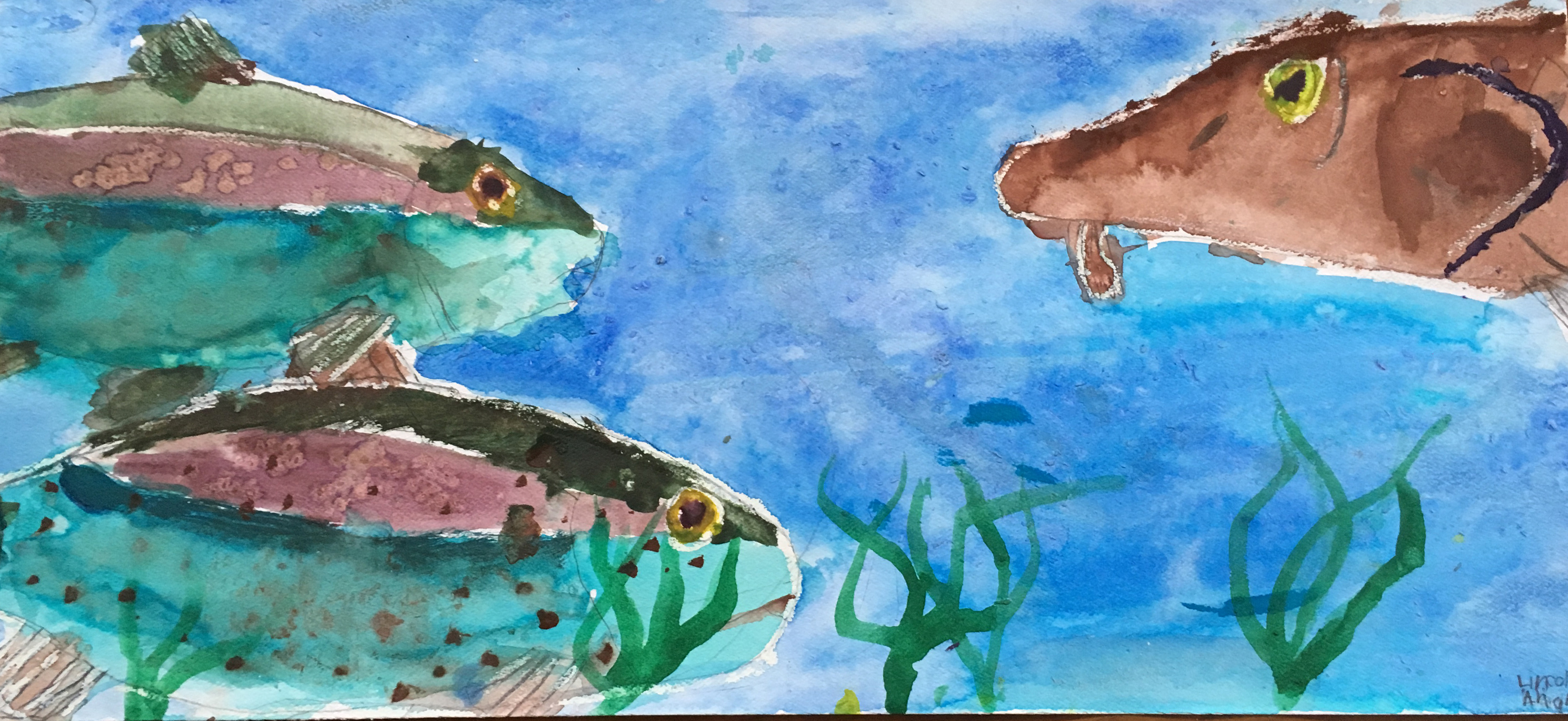 Watercolor painting of three fish and three aquatic plants in blue water.