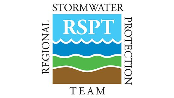 Square logo with words regional stormwater protection team and colored bands of brown, green, purple, and blue.