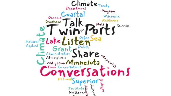 Graphic with word could: Talk, Twin Ports, Listen, Share, Conversations, CLimate, Minnesota, Superior, Climate